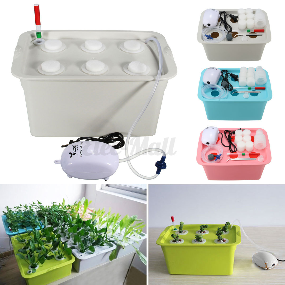 6 Holes Plant Site Hydroponic System Grow Kit Bubble Tub Air Pump ...
