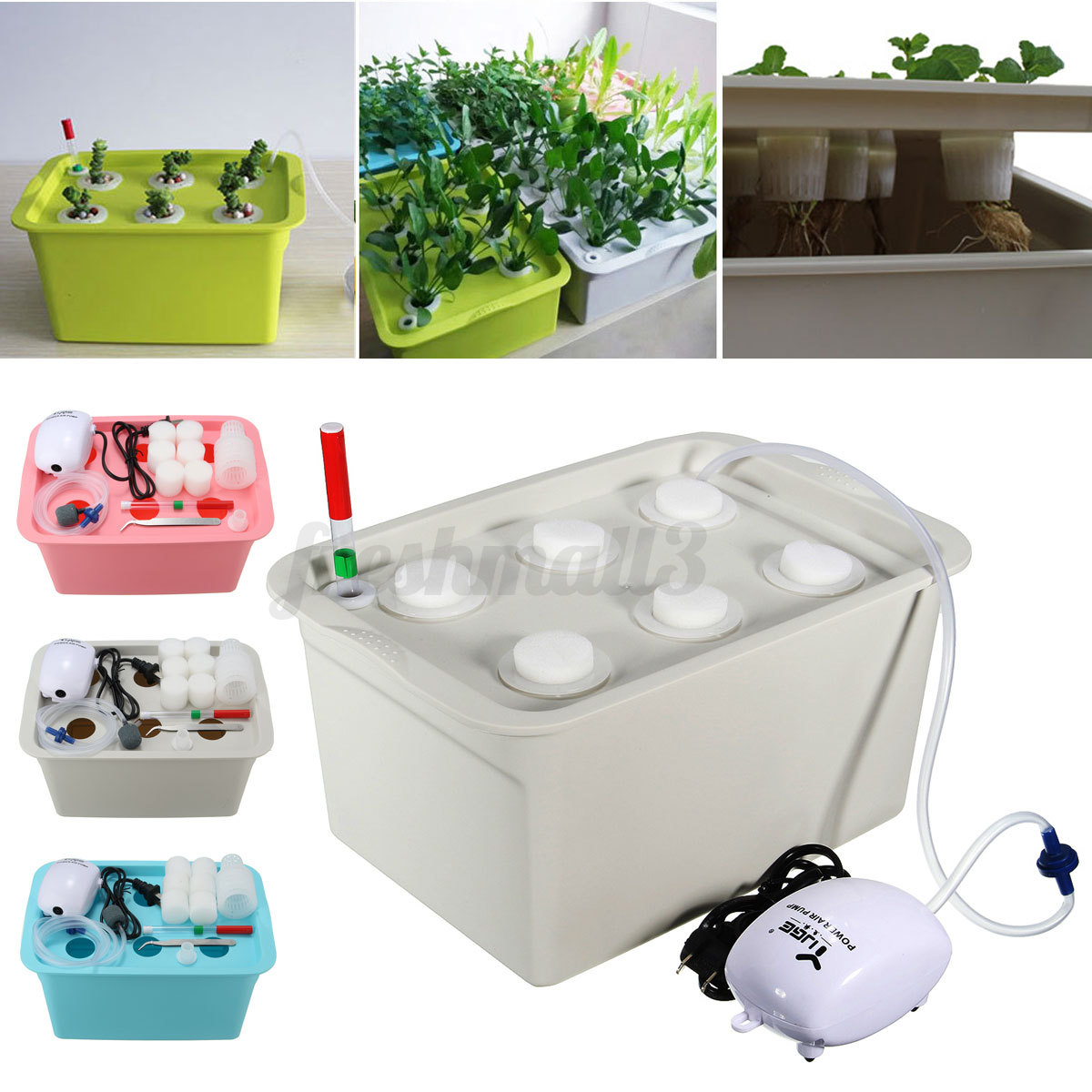6 Plant Grow Site Deep Water Culture Hydroponic System Bubble Tub ...