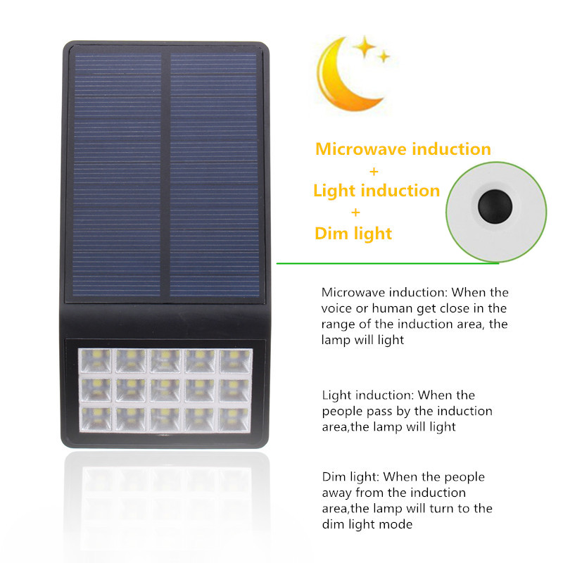 15 led solarlampe solarleuchten au en garten wandleucht bewegungsmelder sensor ebay. Black Bedroom Furniture Sets. Home Design Ideas