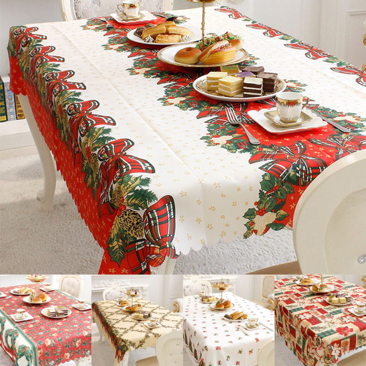Bon Details About Christmas Tablecloth Rectangle Table Cloth New Year Table  Cover Xmas Party Decor