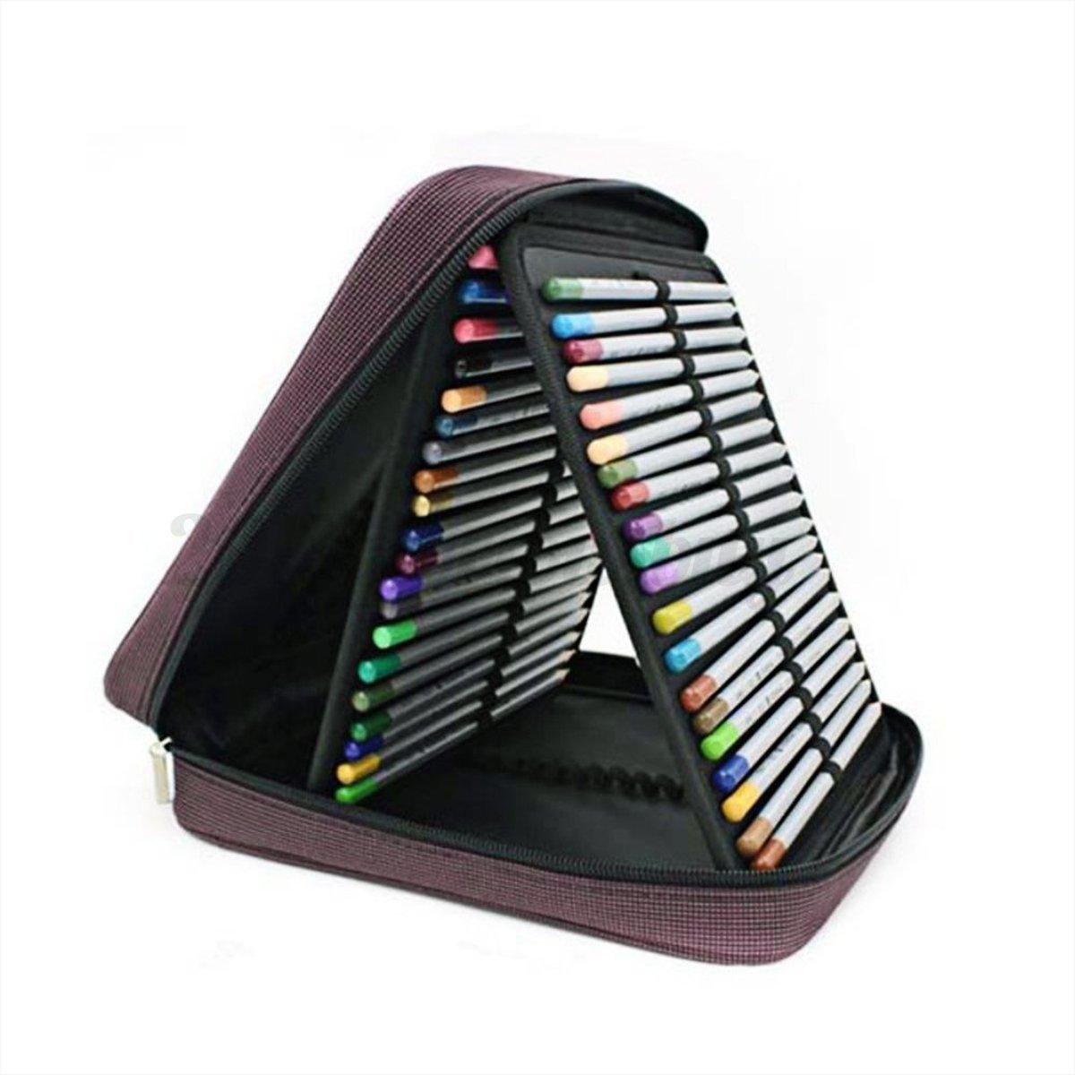 120 Slots Colored Pencil Case Multilayer Foldable Storage Ba