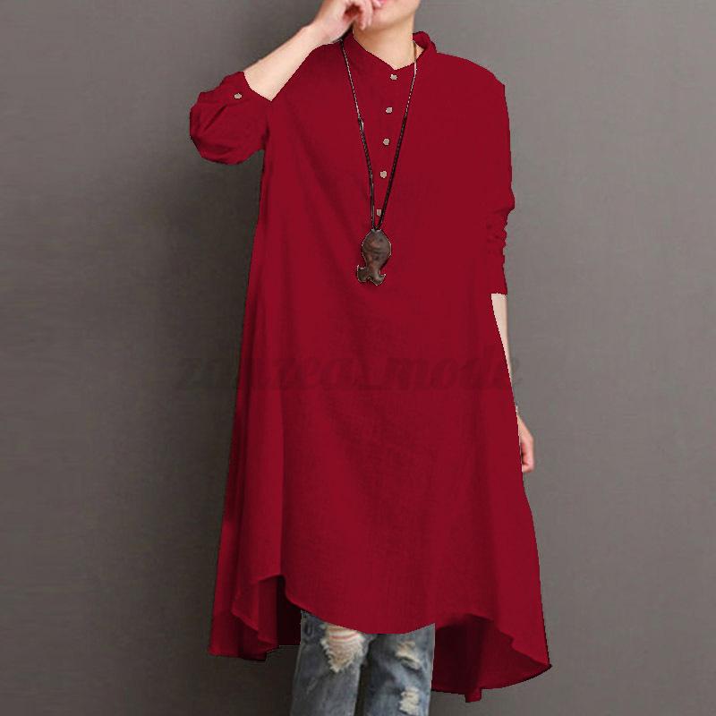 miniature 12 - ZANZEA-Femme-100-Coton-Boutons-Manches-longues-Loose-Tops-Haut-Chemise-Long