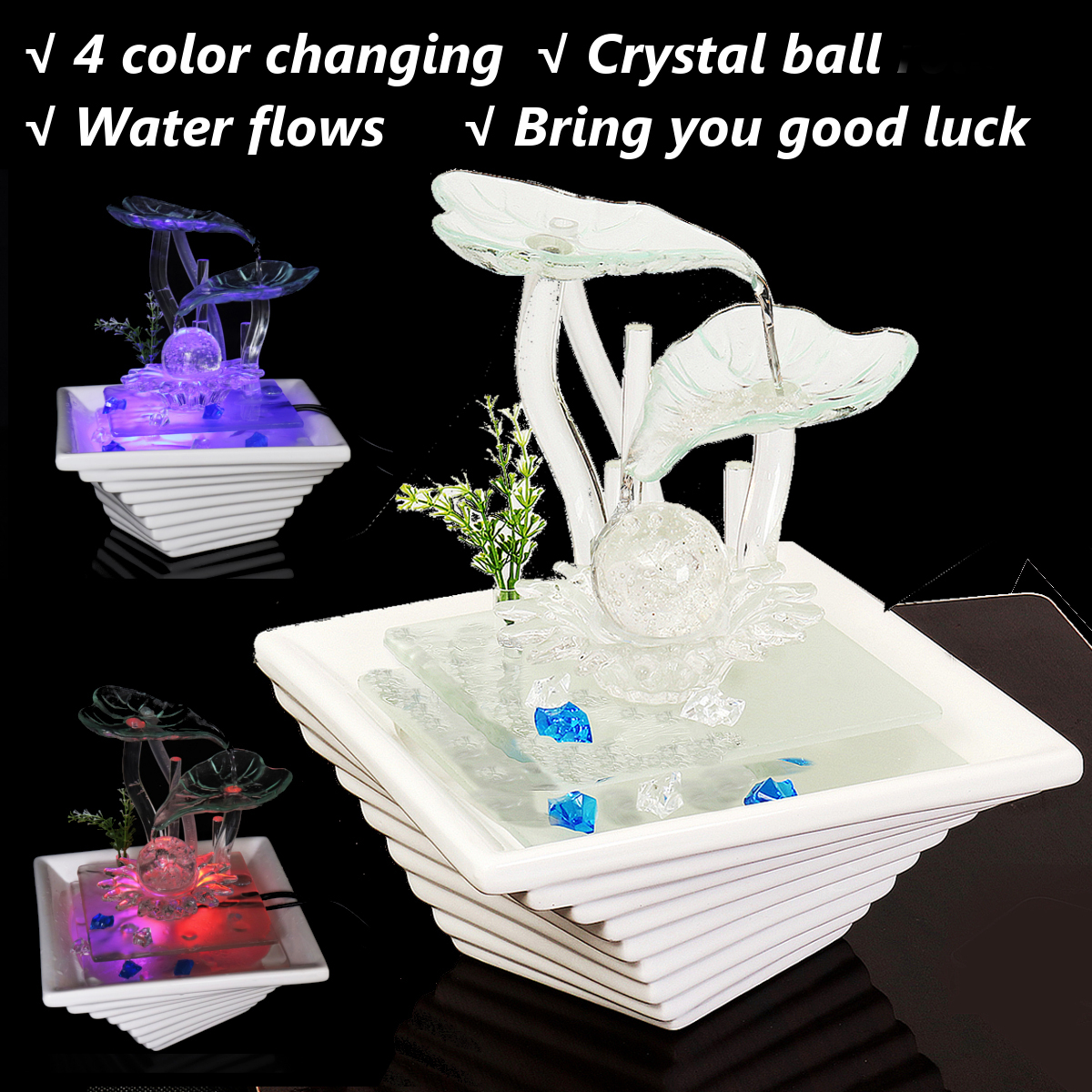 AC220V 3.5W Ceramic & Glass Table Top Water Fountain & LED ...