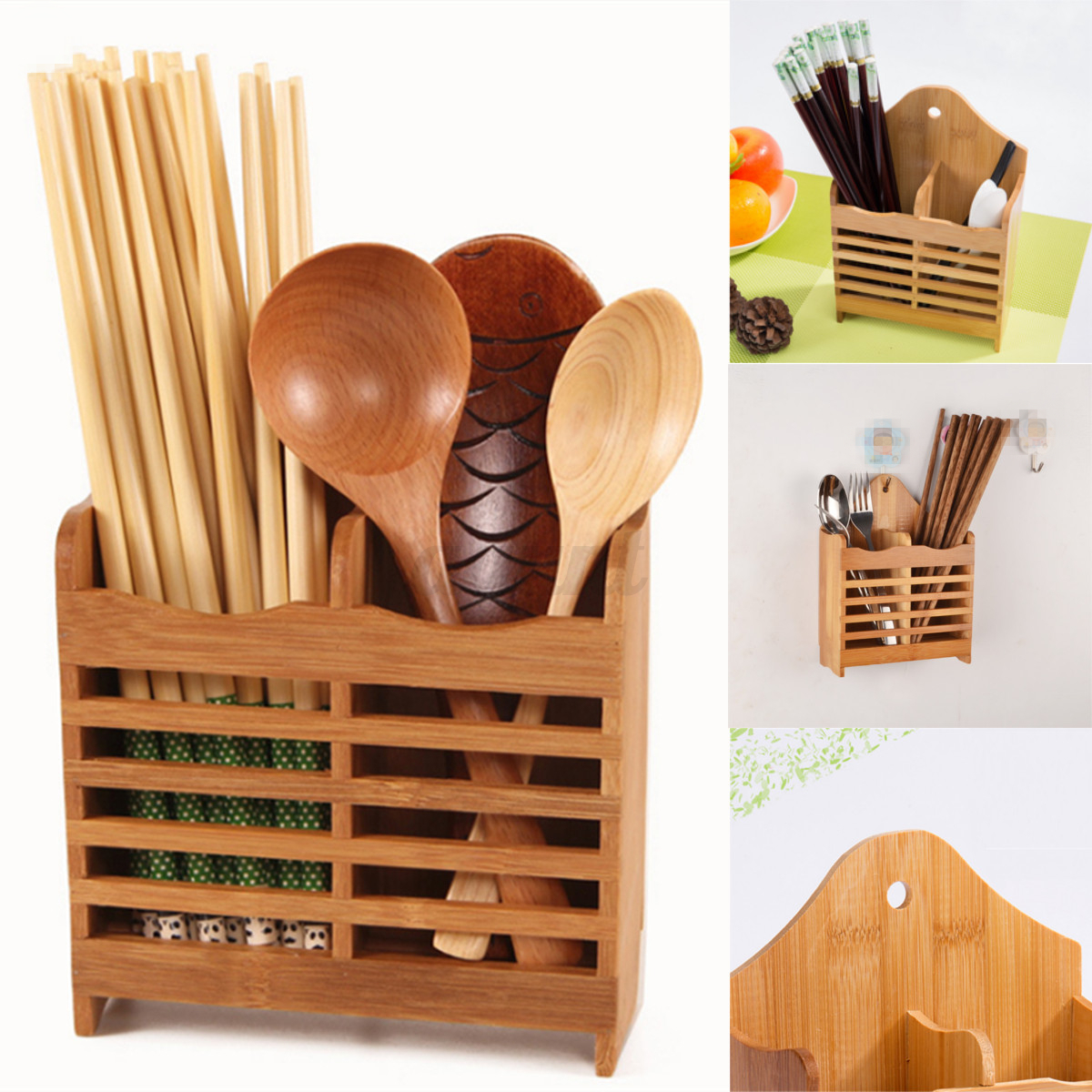 Bamboo Cutlery Storage Holder Spoon Chopsticks Kitchen Organizer Drying  Rack | EBay