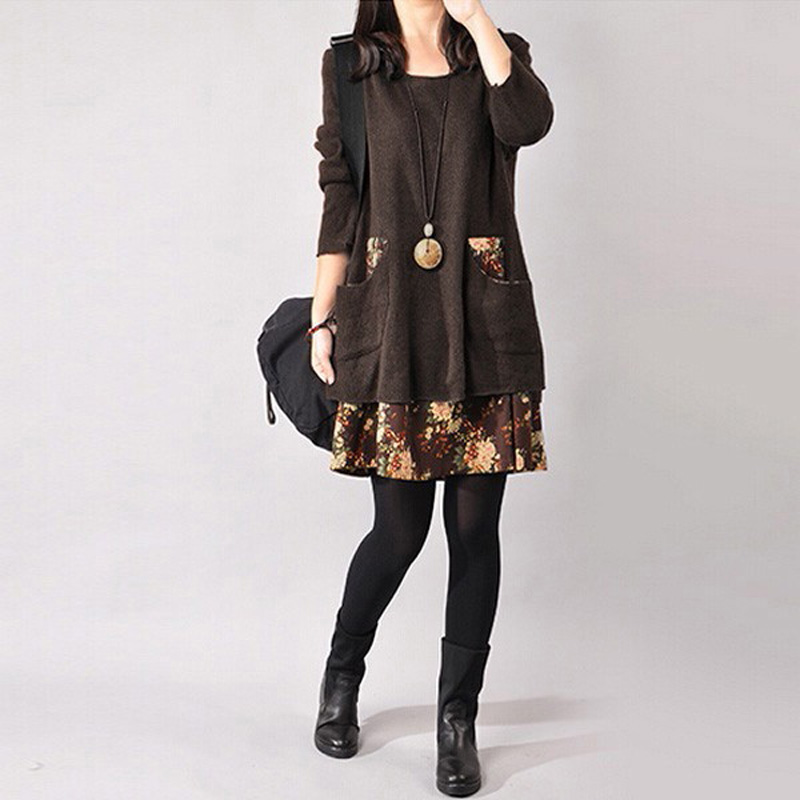 AU-8-24-Women-Winter-Boho-Retro-Floral-Knit-Mini-Dress-A-Line-Jumper-Sweater-Top