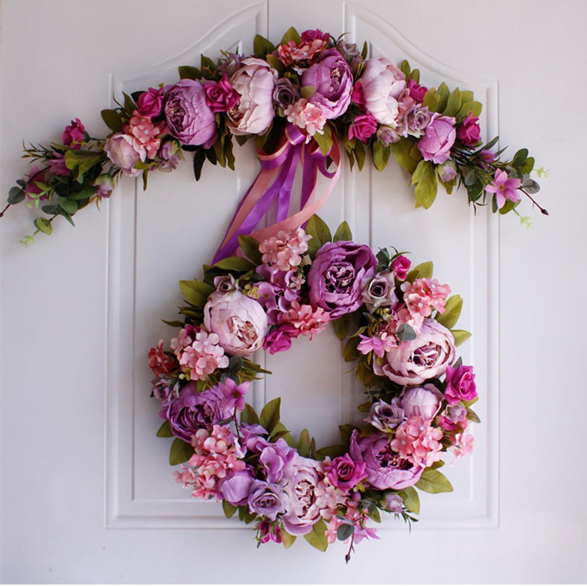 Silk Artificial Flowers Peony Bouquet Garland Wreath Wedding Door Wall