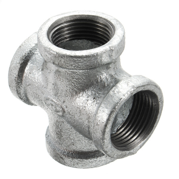 Cast Iron Couplers : Way black iron pipe threaded coupling tee fittings cross
