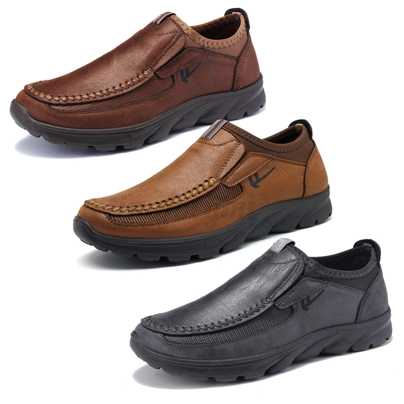 Men-039-s-Casual-Leather-Slip-On-Driving-Loafers-Antiskid-Moccasins-Breathable
