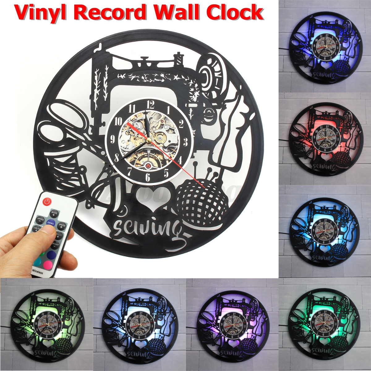 7 colors led change 3d retro vinyl record wall clock home for Vinyl record wall art