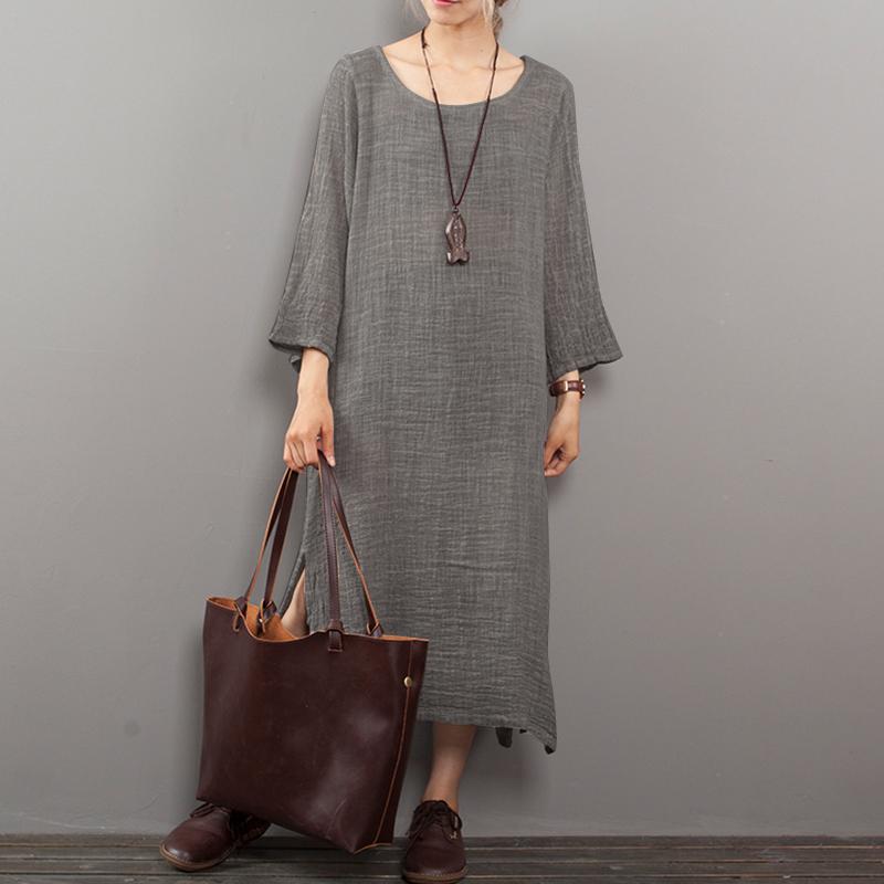 ZANZEA-Women-039-s-Long-Sleeve-Casual-Plain-Shirt-Dress-Oversize-Midi-Dress-Kaftan
