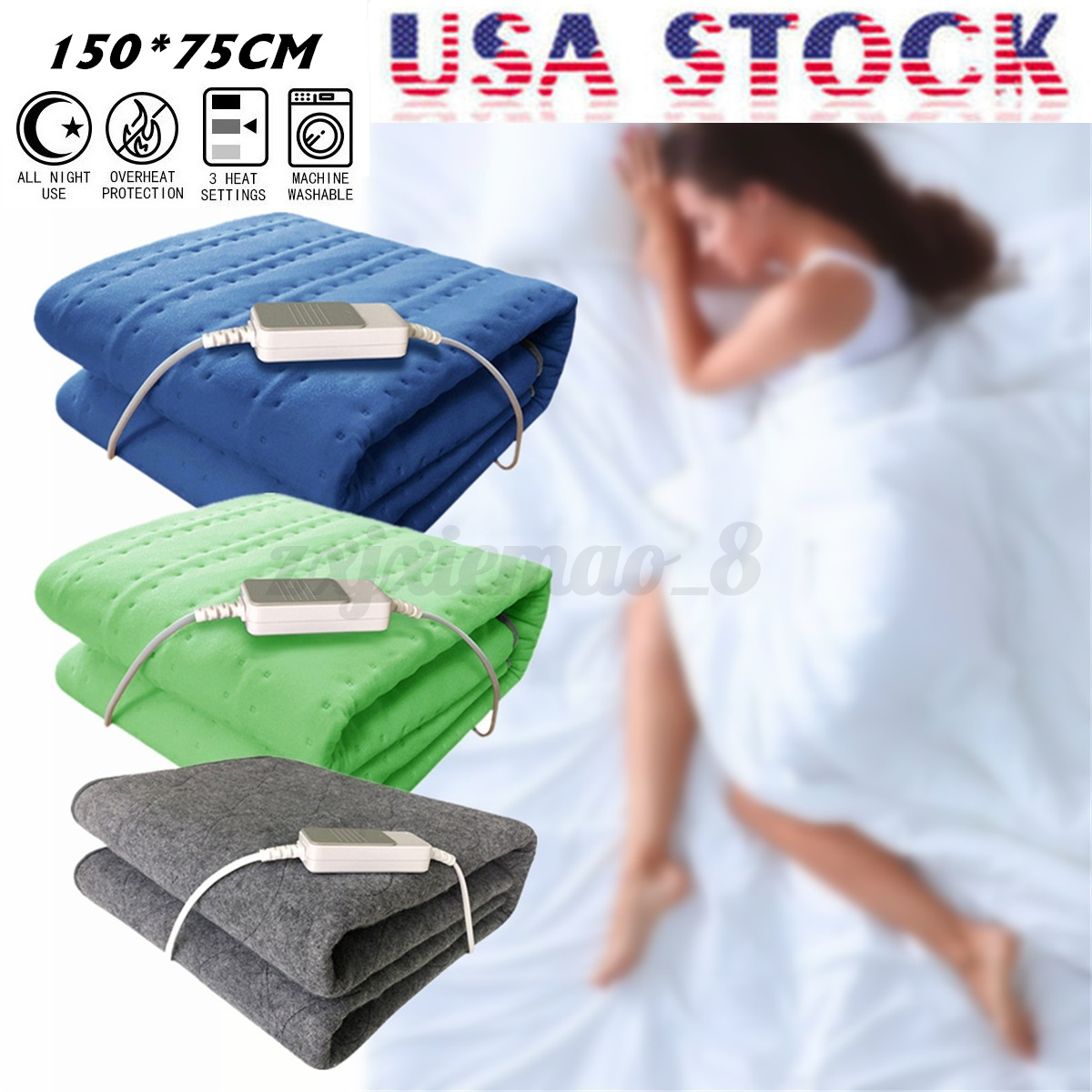 Electric Heated Blanket Throw Over Under Bed Warm Mattress N