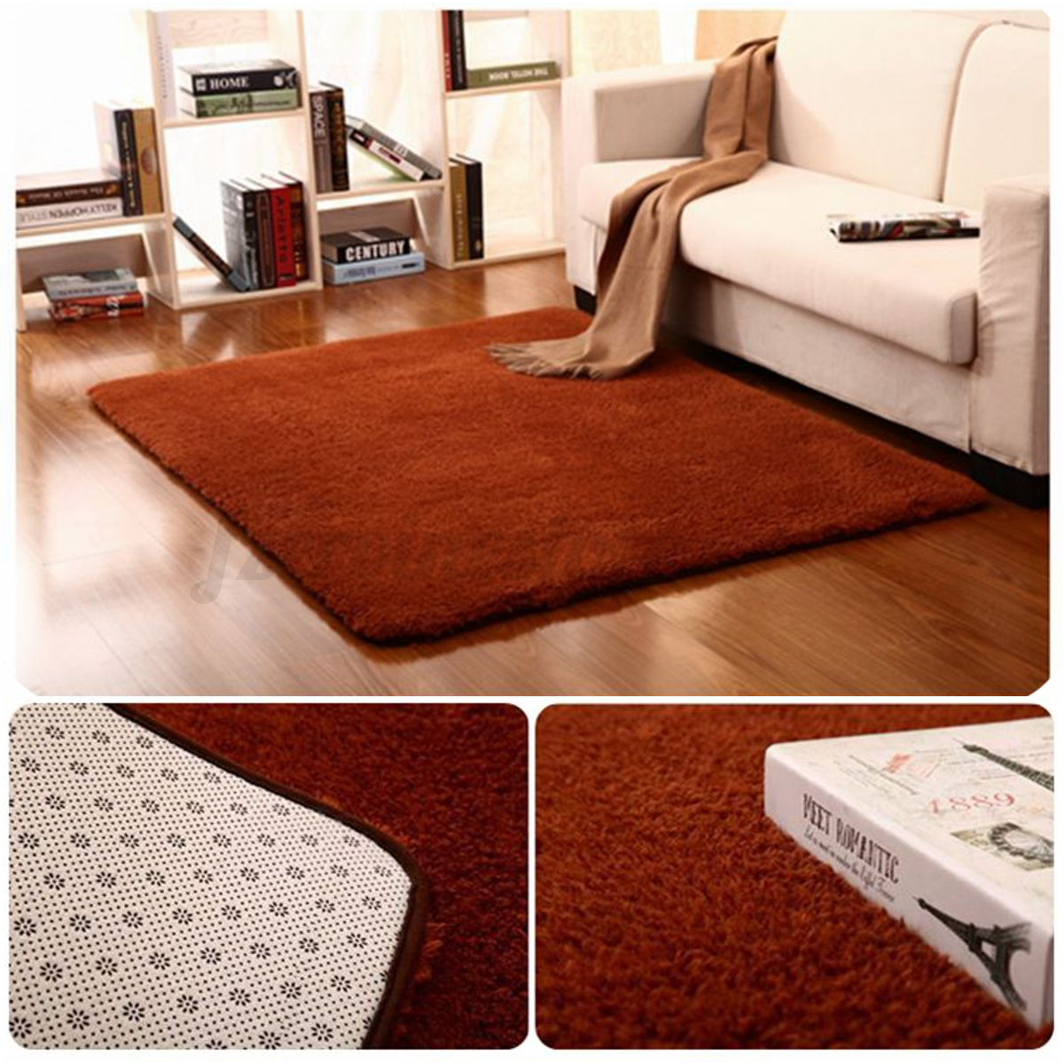 fluffy rugs anti skid shaggy area rug home bedroom dining room carpet floor mat ebay. Black Bedroom Furniture Sets. Home Design Ideas