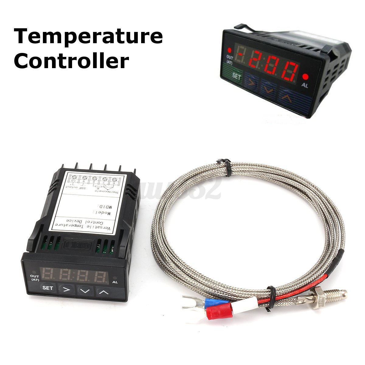 25A SSR K thermocouple Green Universal 1//32DIN PID Temperature Controller