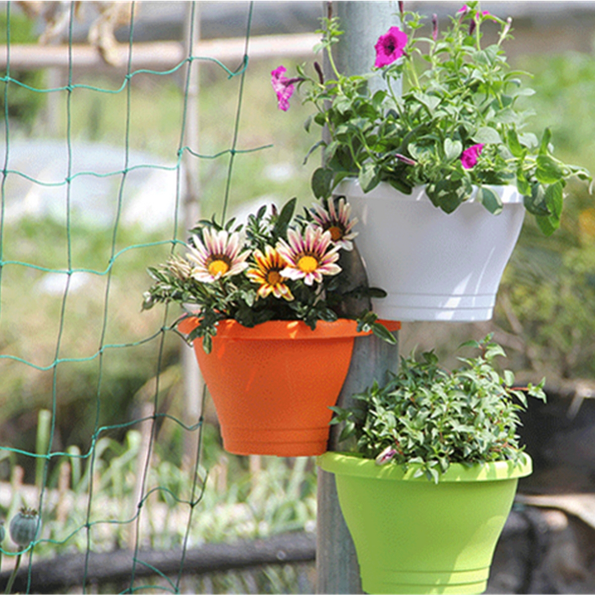 Tub drain pipe flower plant hanging pot basket garden for Balcony hanging planter