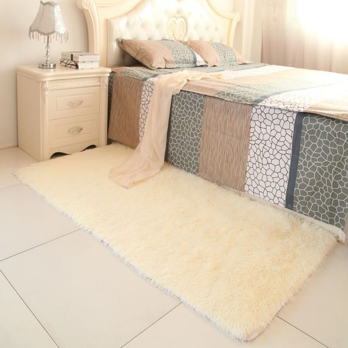 Carpet In A Bathroom: 60×90cm Non-slip Carpet Living Room Long Wool Bathroom Mat