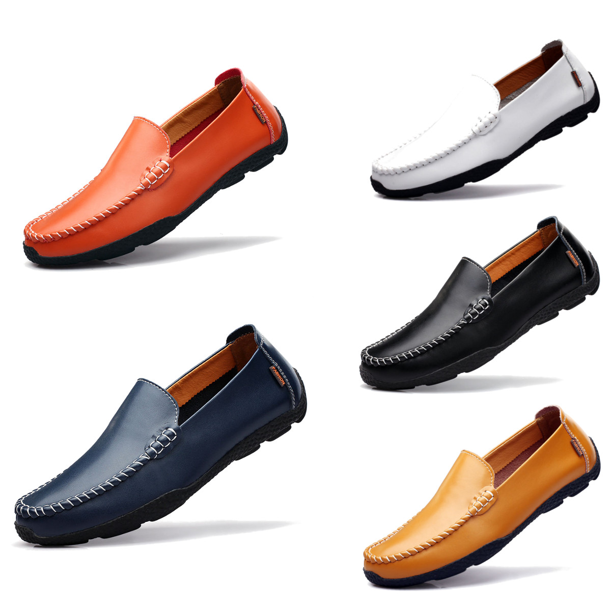 New Mens Driving Casual Boat Shoes Leather Moccasin Slip On D Island Mocasine Brown Detail Image