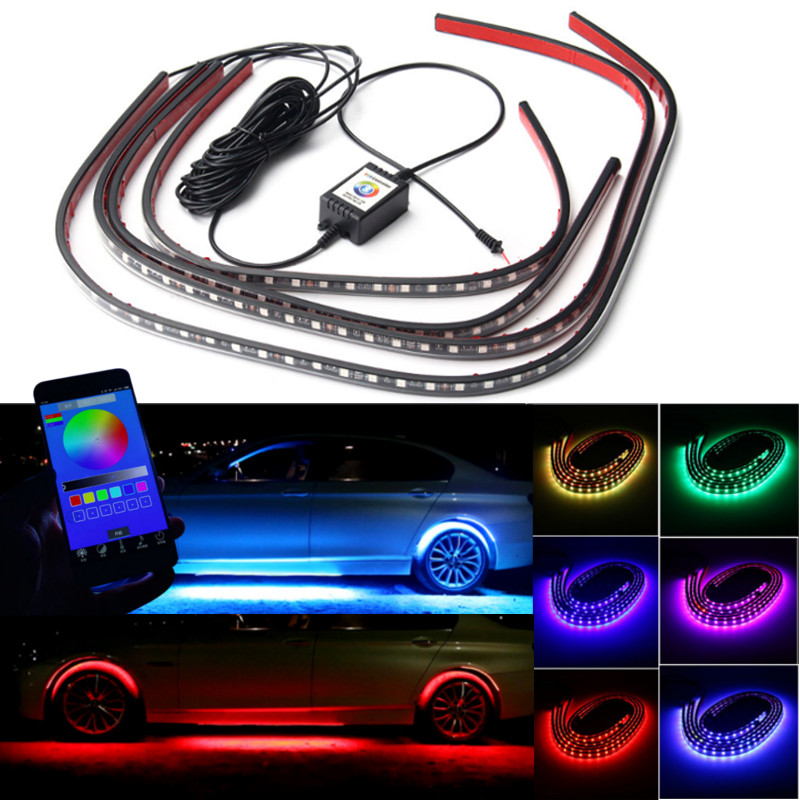 4x rgb led unterbodenbeleuchtung atmosph re neon licht app musik control kit eur 22 99. Black Bedroom Furniture Sets. Home Design Ideas