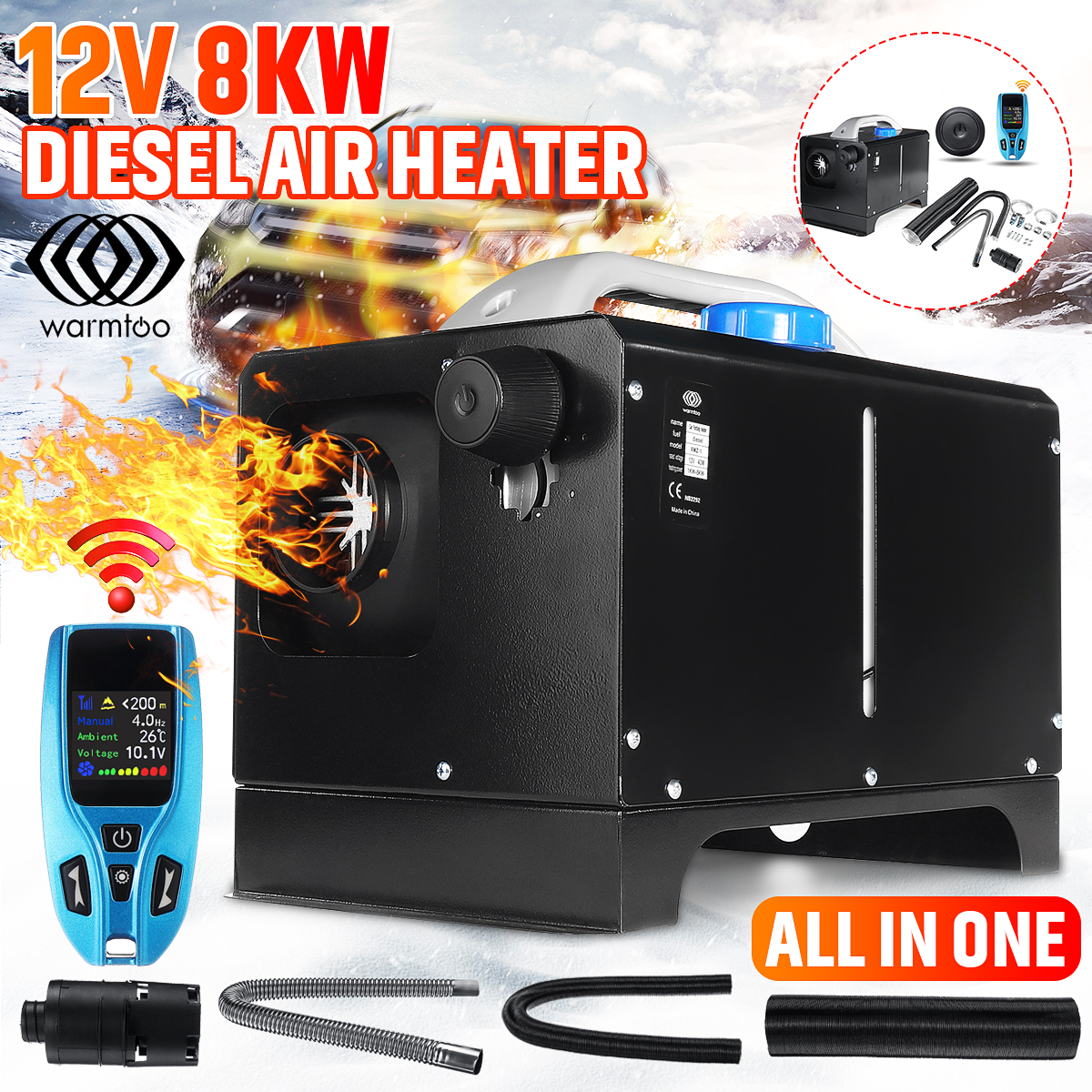 2020NEW All In One Diesel Air Heater 8KW 12V LCD Monitor Remote Trucks Boat Car