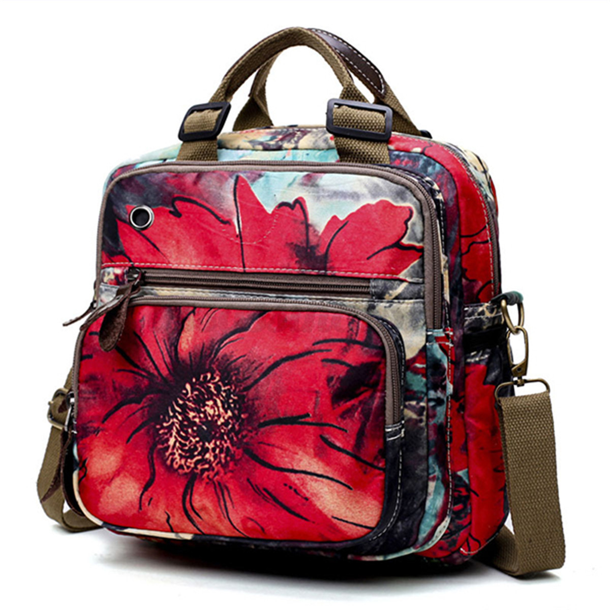 National Style Outdoor Flower Pattern Shoulder Crossbody Bag