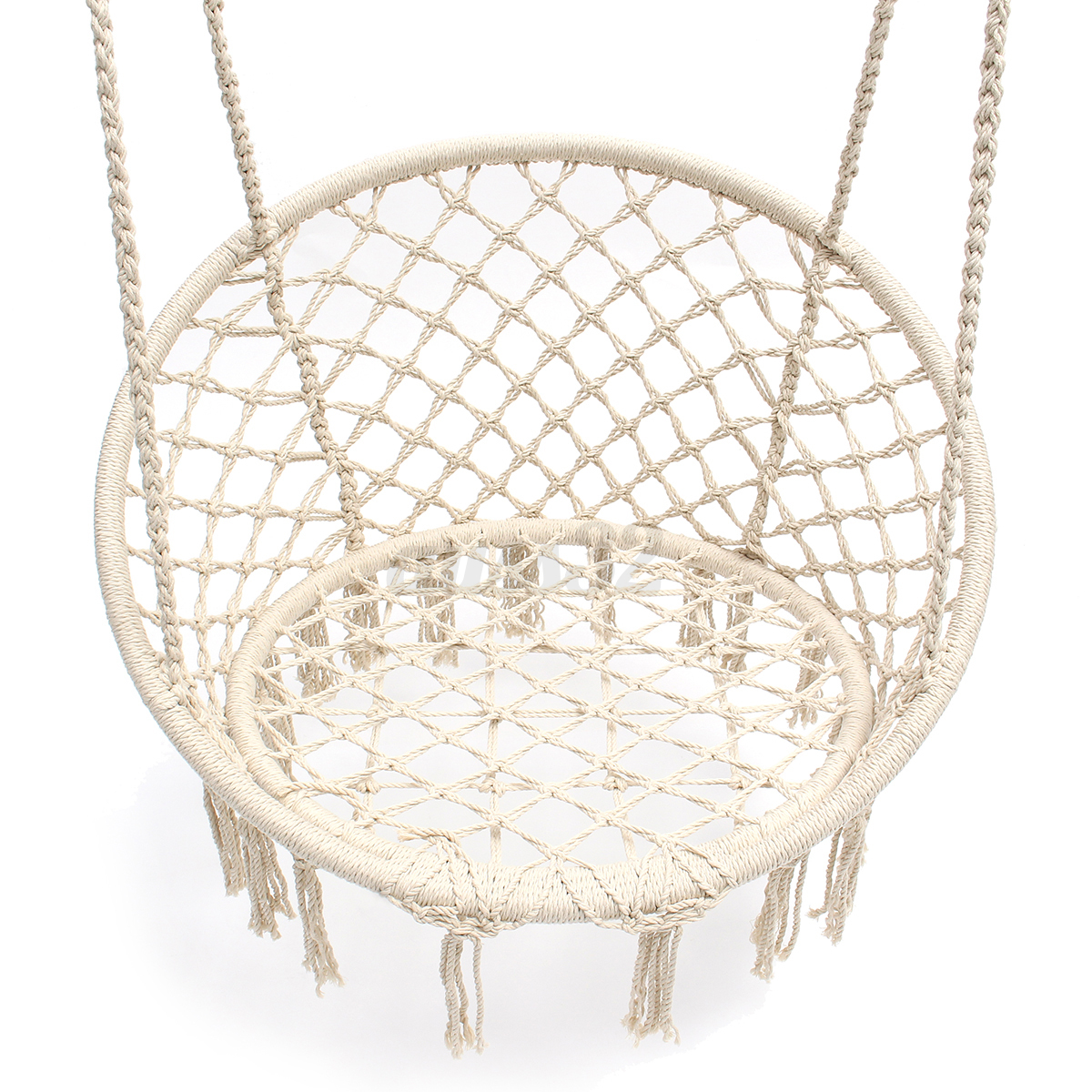 Beige hanging cotton rope macrame hammock chair swing for Macrame hanging chair