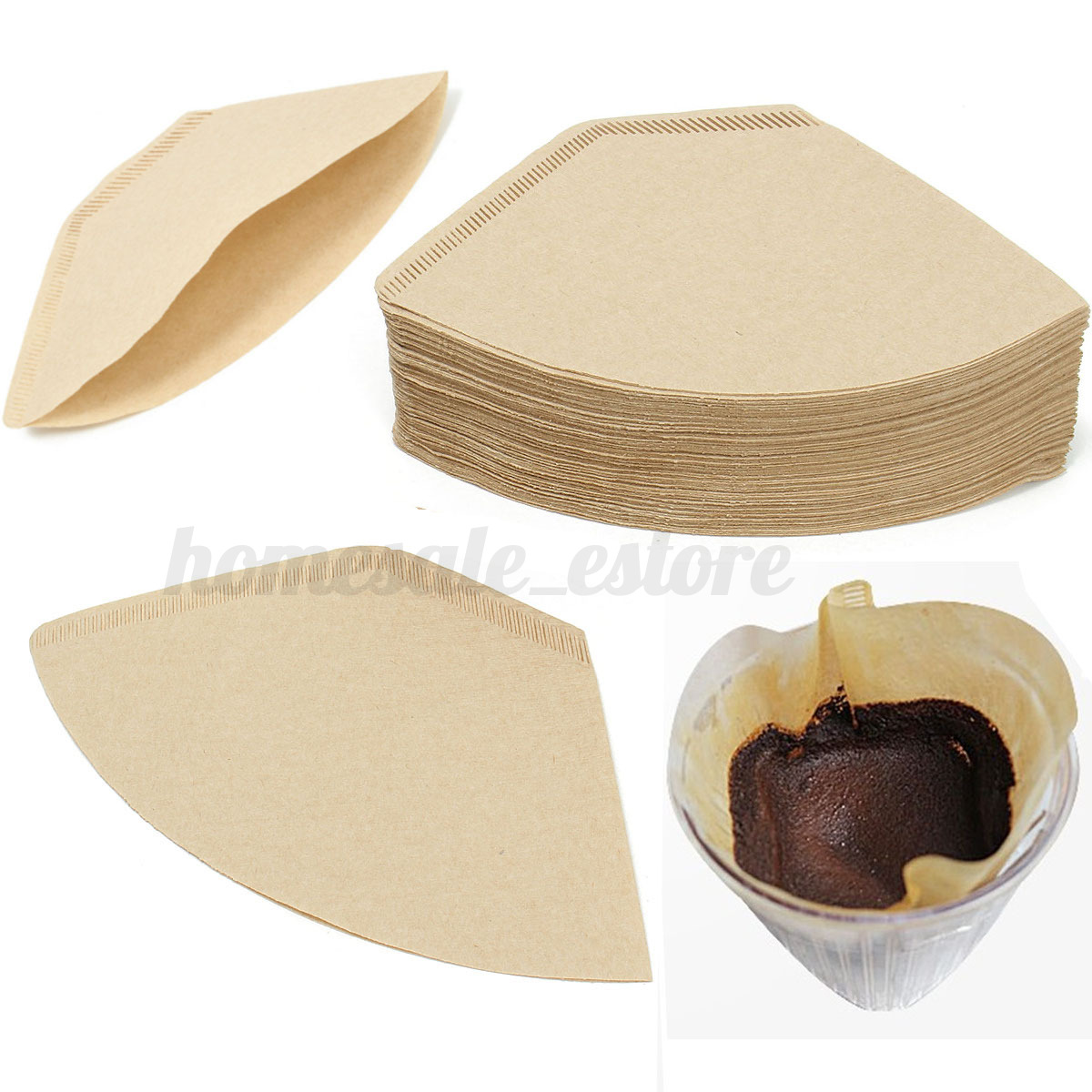 100pcs White Coffee Paper Filter Poured Drip Espresso Machine Brewer Cup Maker eBay
