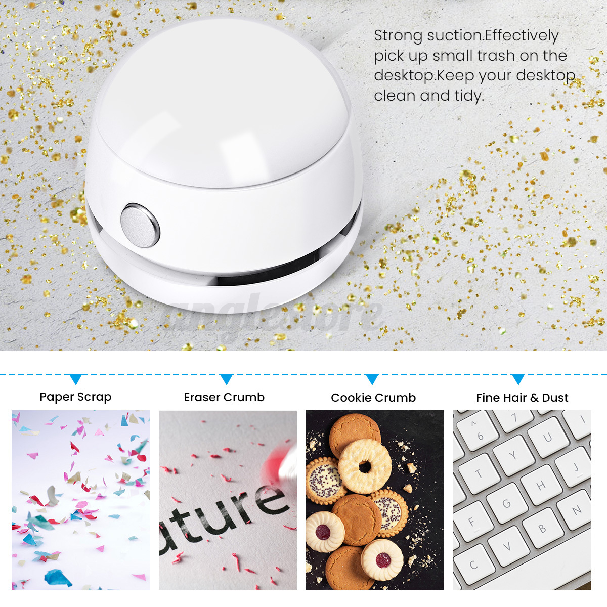Mini Vacuum Cleaner Office Desk Dust Collector Table Sweeper