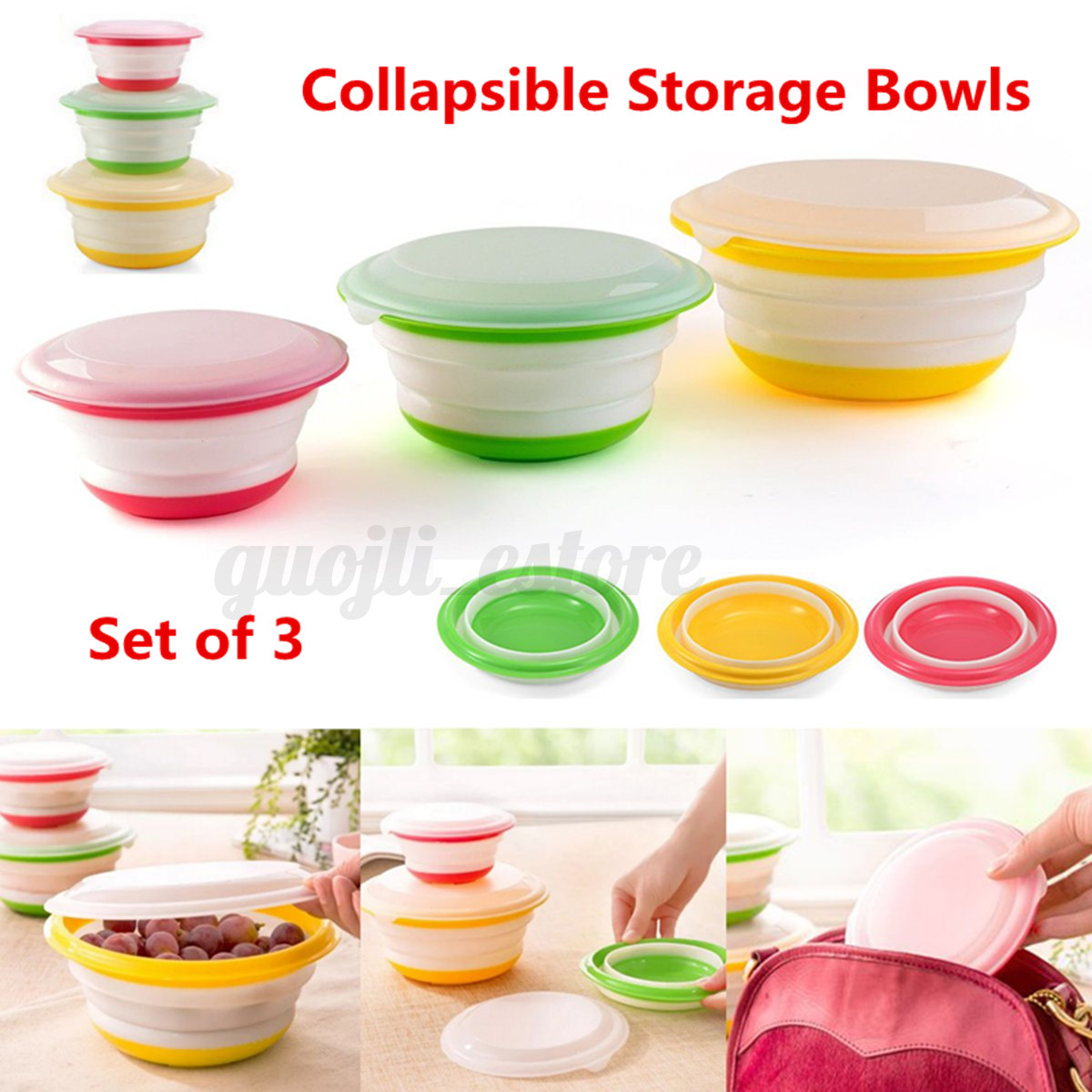 Collapsible Food Storage Containers With Lids