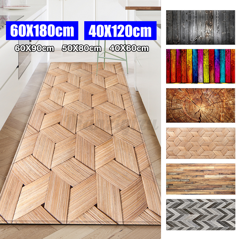 "16''x47"" Kitchen Door Area Rug Floor Carpet Non-slip Wood Gr"