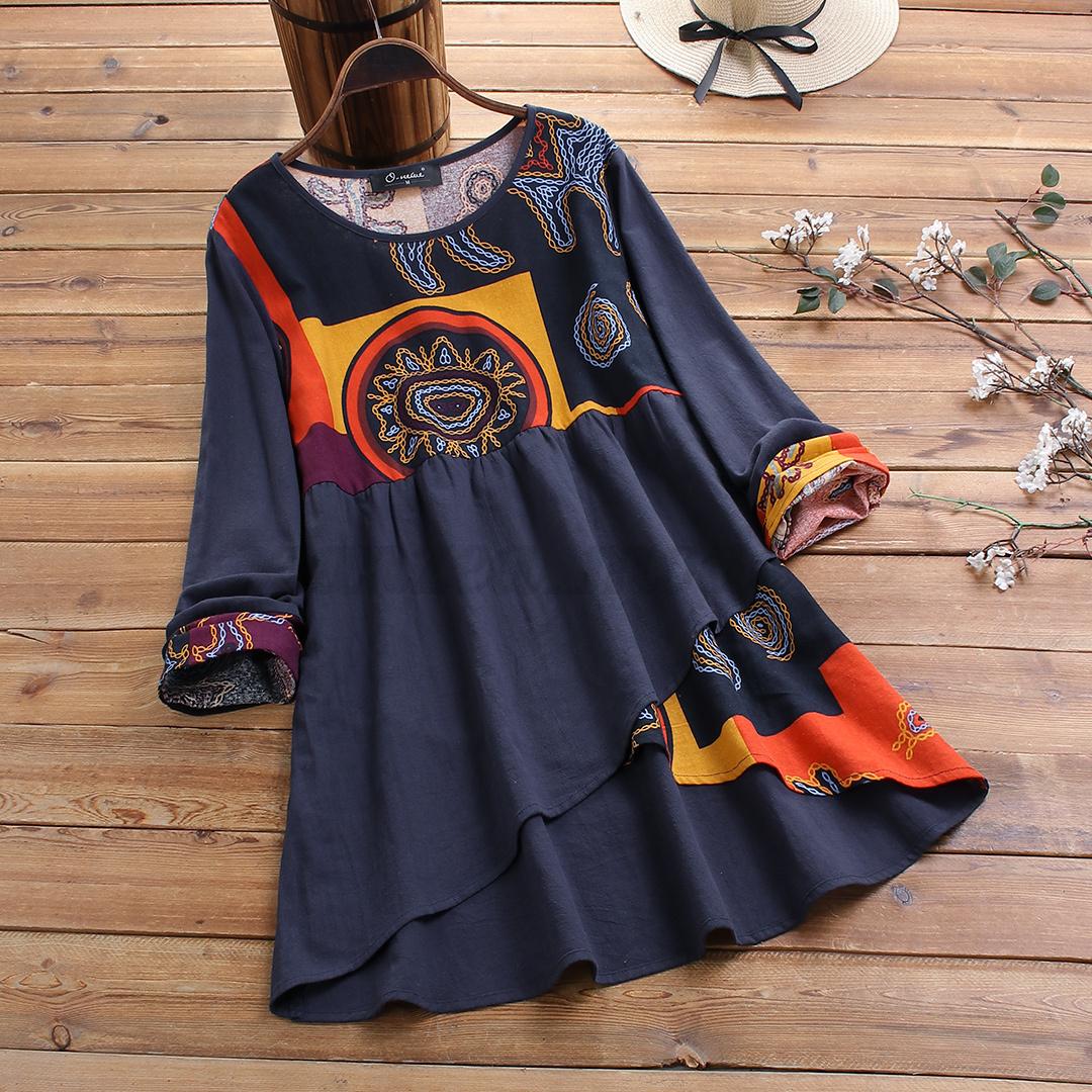 Mode-Femme-T-Shirt-Haut-Tops-Asymmetric-Impression-Manche-Longue-Loisir-Plus miniature 6