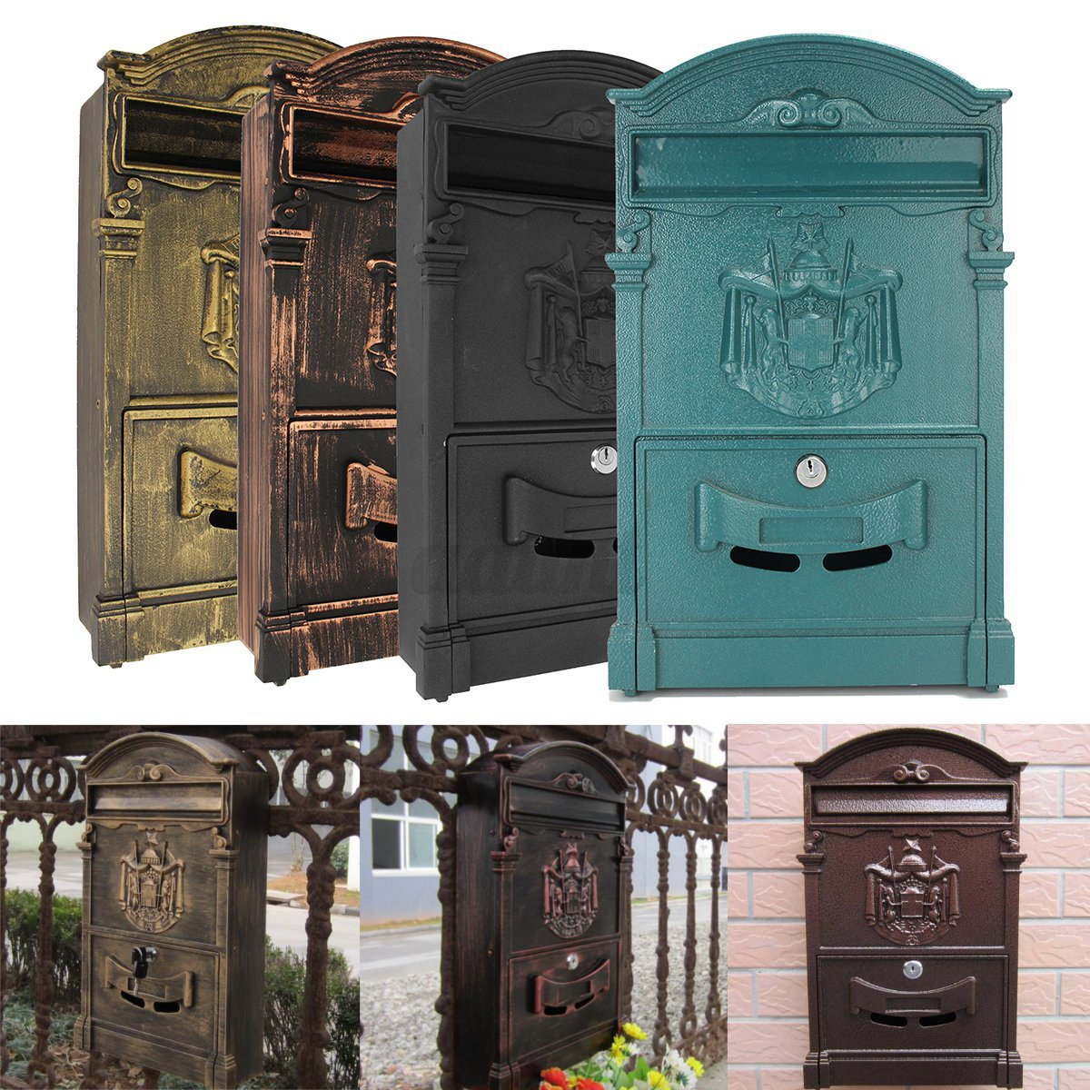 Small surface mounted replacement lock for antique furniture ebay - Vintage Retro Aluminum Wall Mount Mailboxes Home Garden