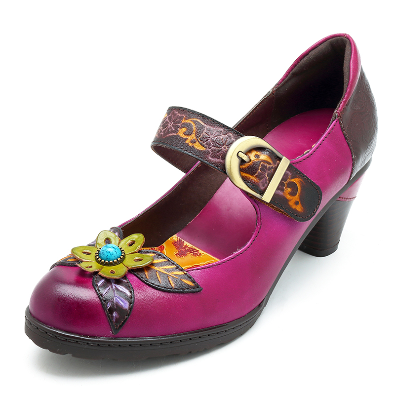 Details about SOCOFY Women Leather Pumps Handmade Flower Pattern Vintage Soft Shoes Mary Janes