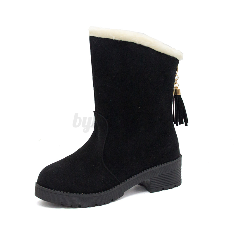 Women-Mid-Calf-Ankle-Boots-Suede-Block-Low-Heel-Shoes-Fur-Lining-Winter-Snow