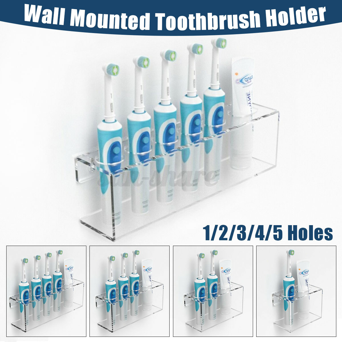 Wall Mounted Electric Toothbrush Toothpaste Storage Holder Bathroom Ebay