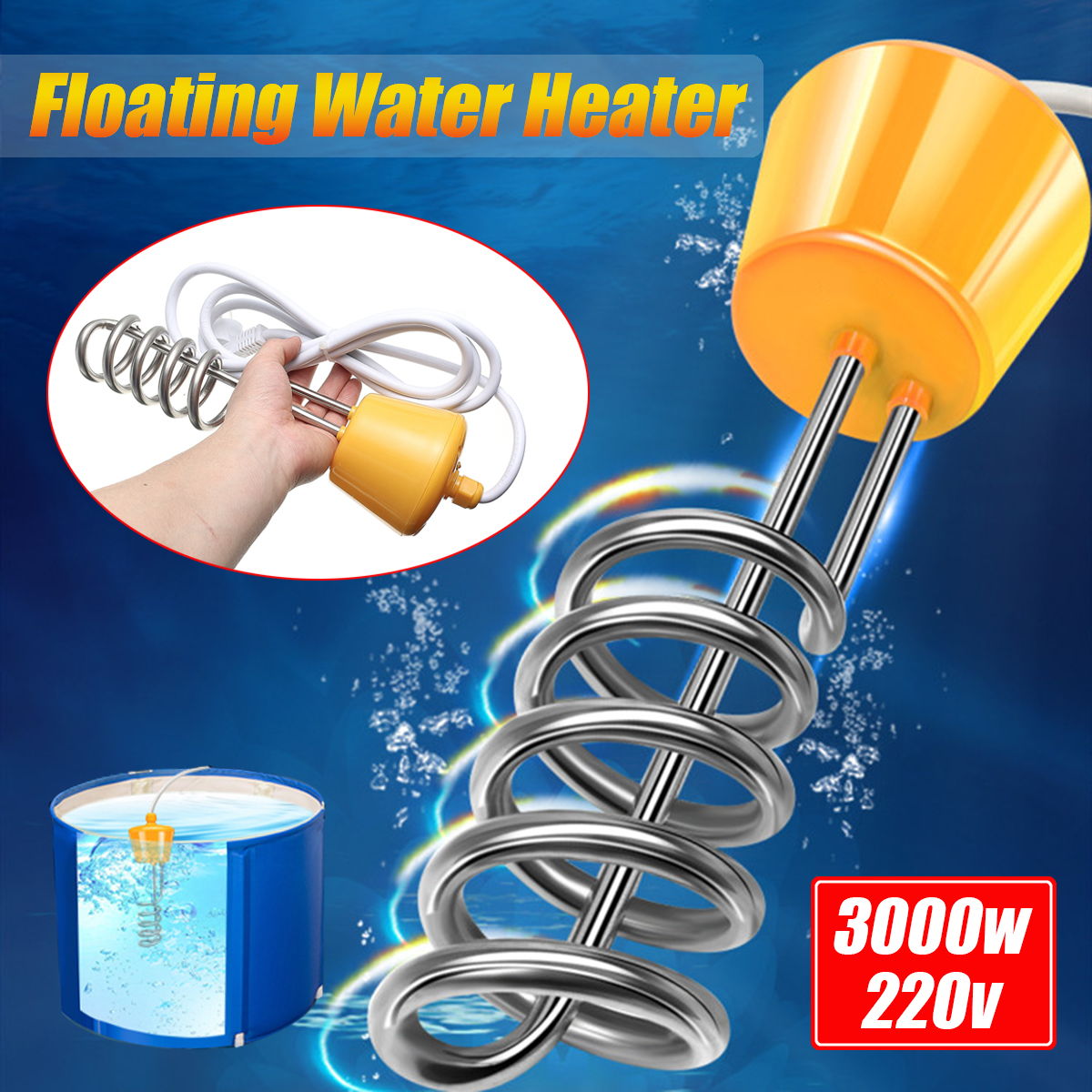 Dasing 3000W Suspension Immersion Electric Water Heater Boiler for in flatable Tub Pool UK Plug