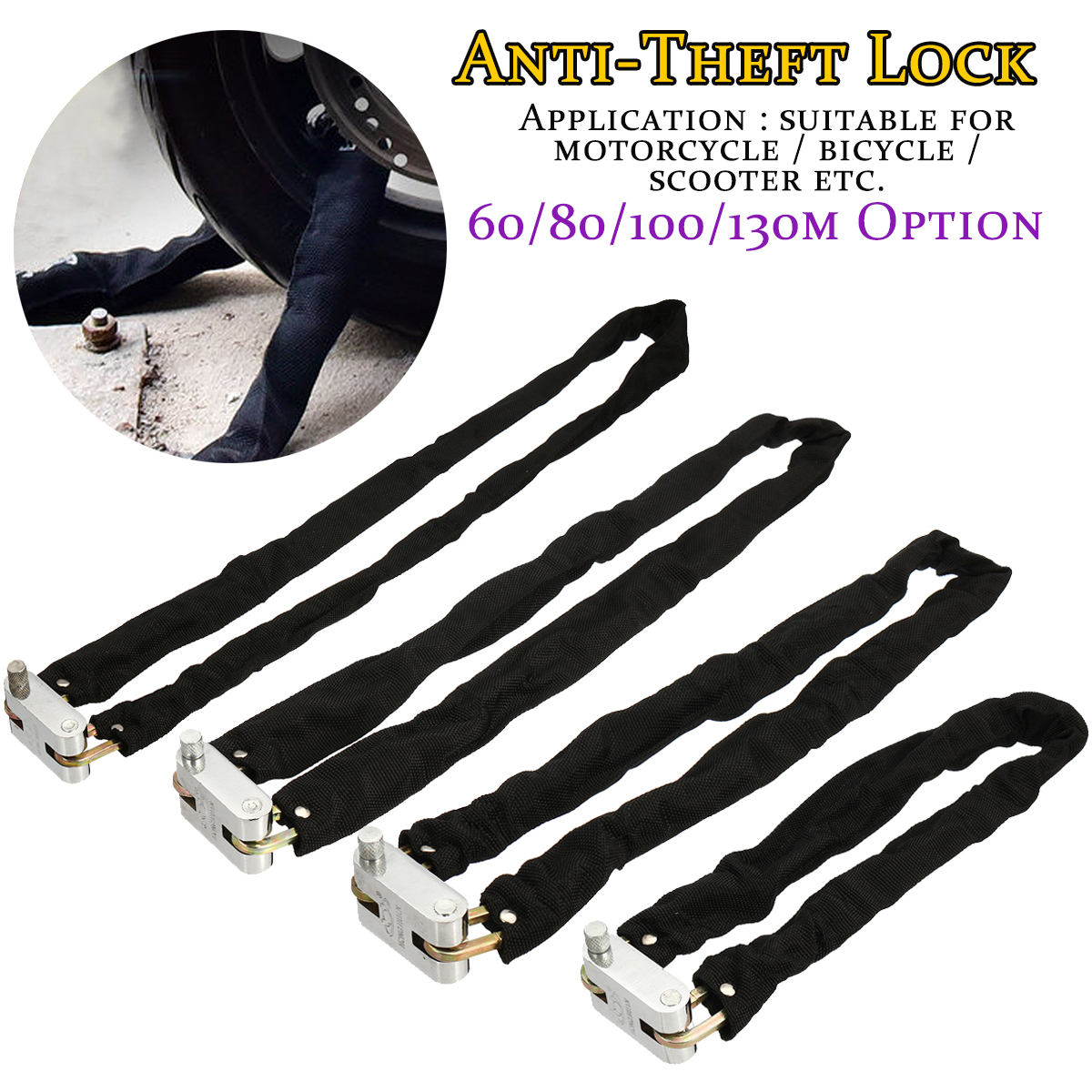 60-130cm Motorcycle Bicycle Scooter Lock Chain Lock Padlock Security Anti-theft