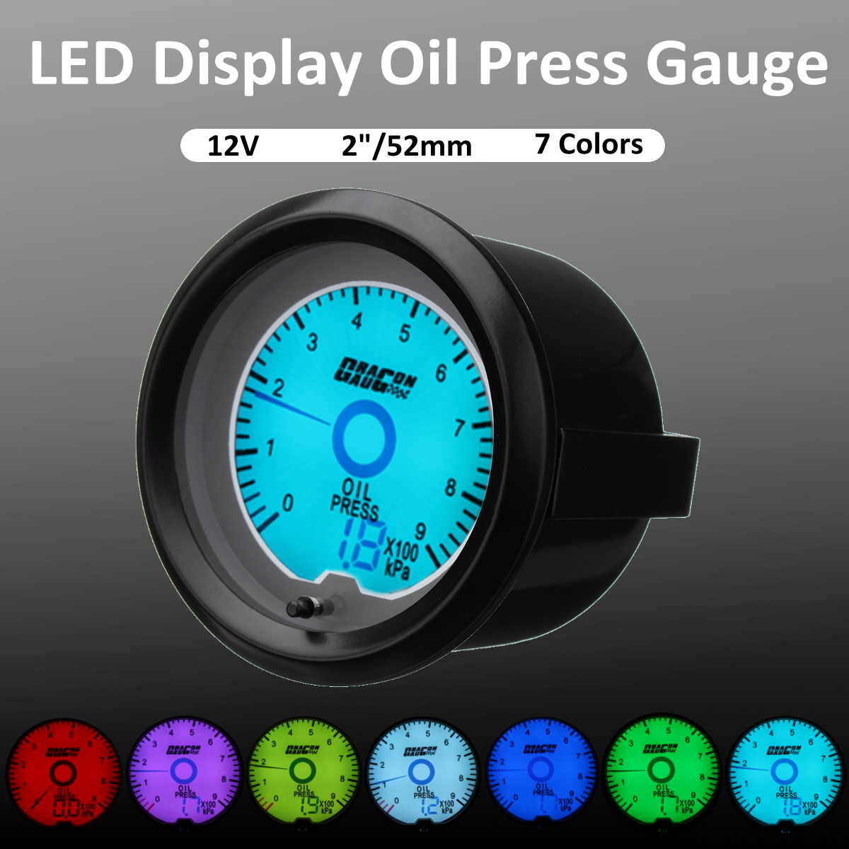 """2"""" 52mm LED Tachometer Exhaust Oil Water Temp Air Fuel Voltage Boost ..."""