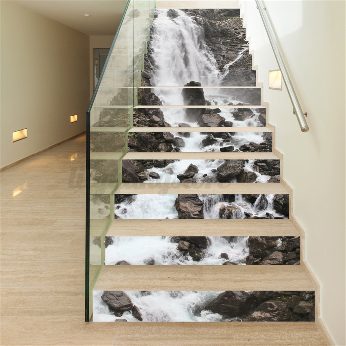 13pcs 3d waterfall stair risers decor photo mural decal for Diy photographic mural