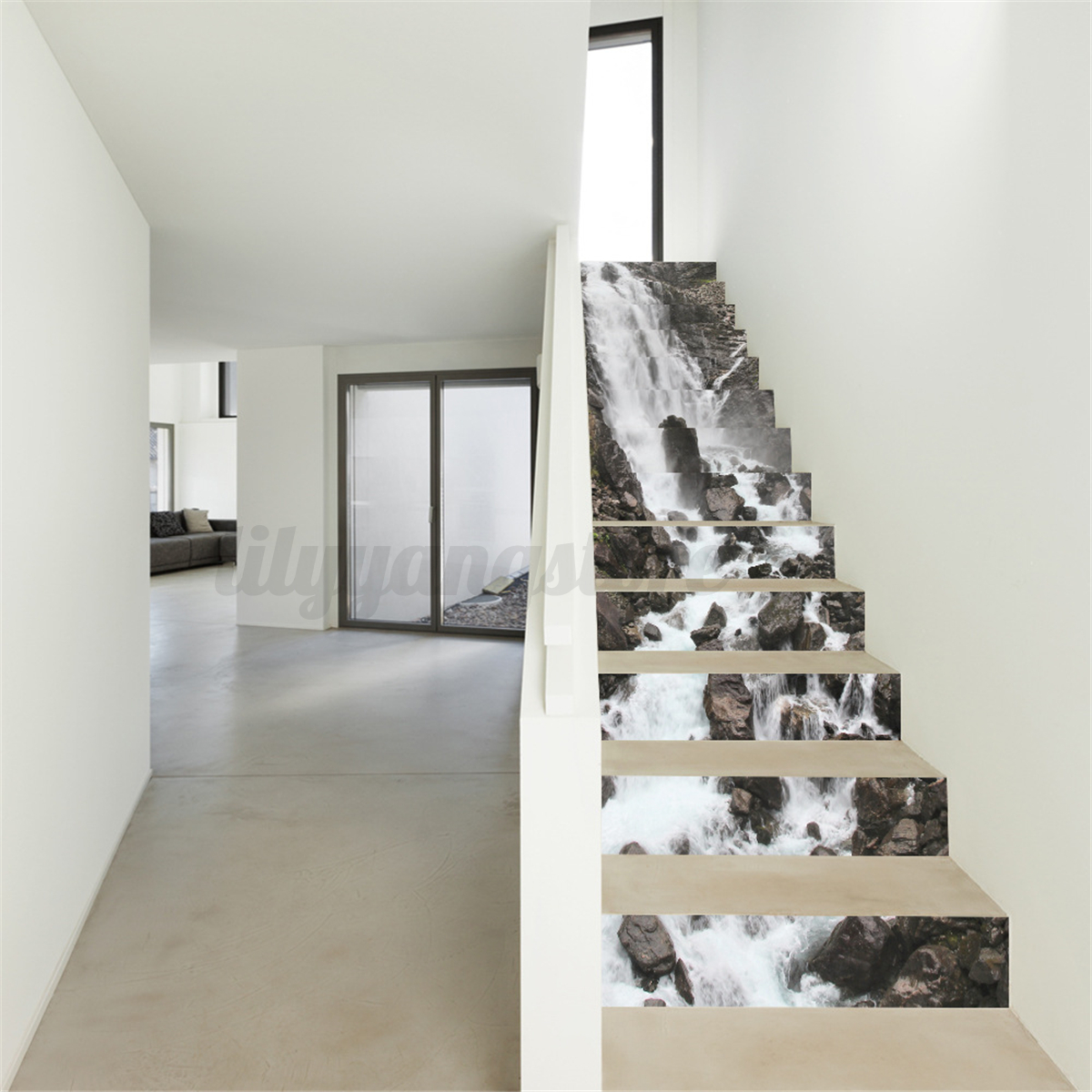 13pcs 3d waterfall stair risers decor photo mural decal for Diy photo wall mural