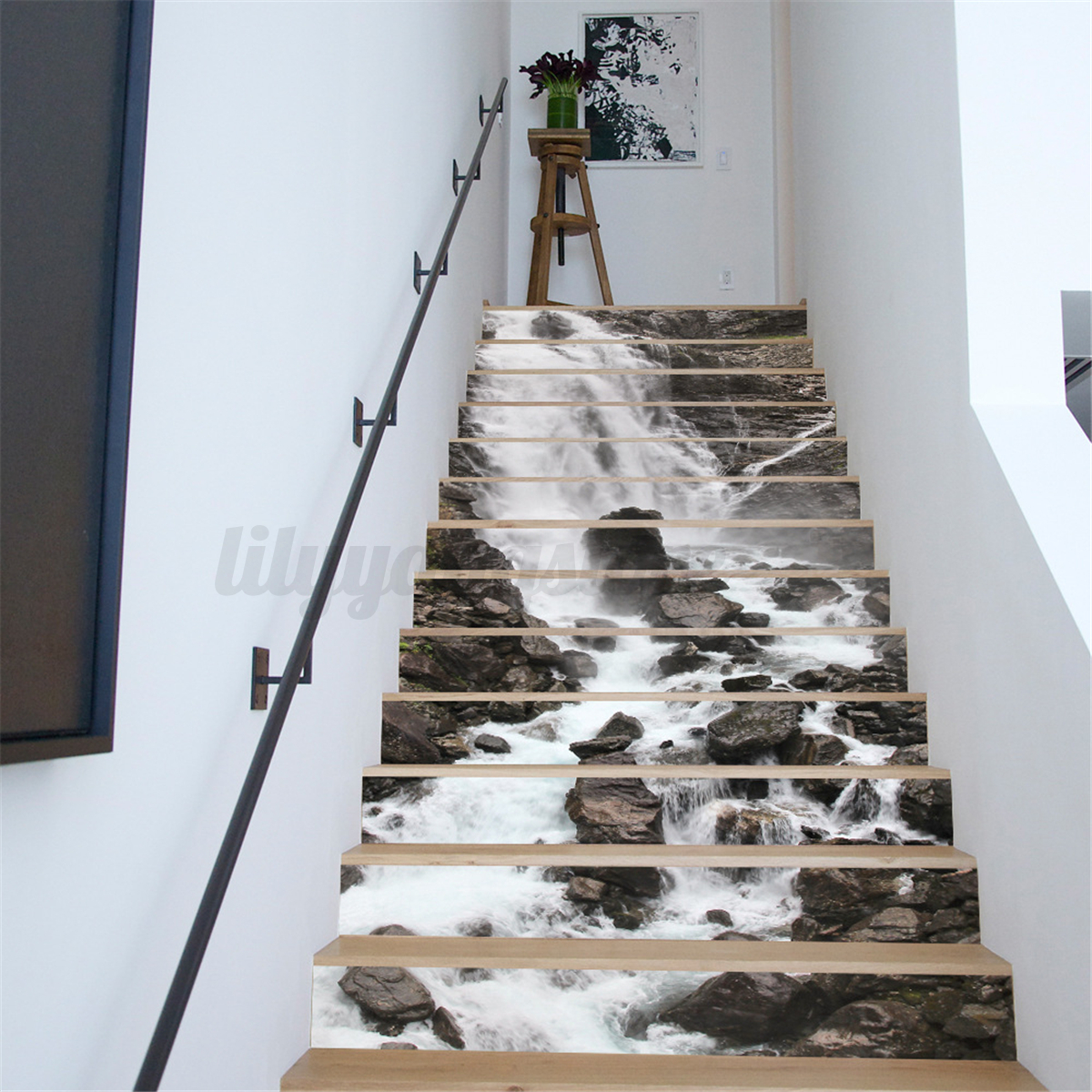 13pcs 3d waterfall stair risers decor photo mural decal wallpaper sticker diy ebay - Deco trap ...