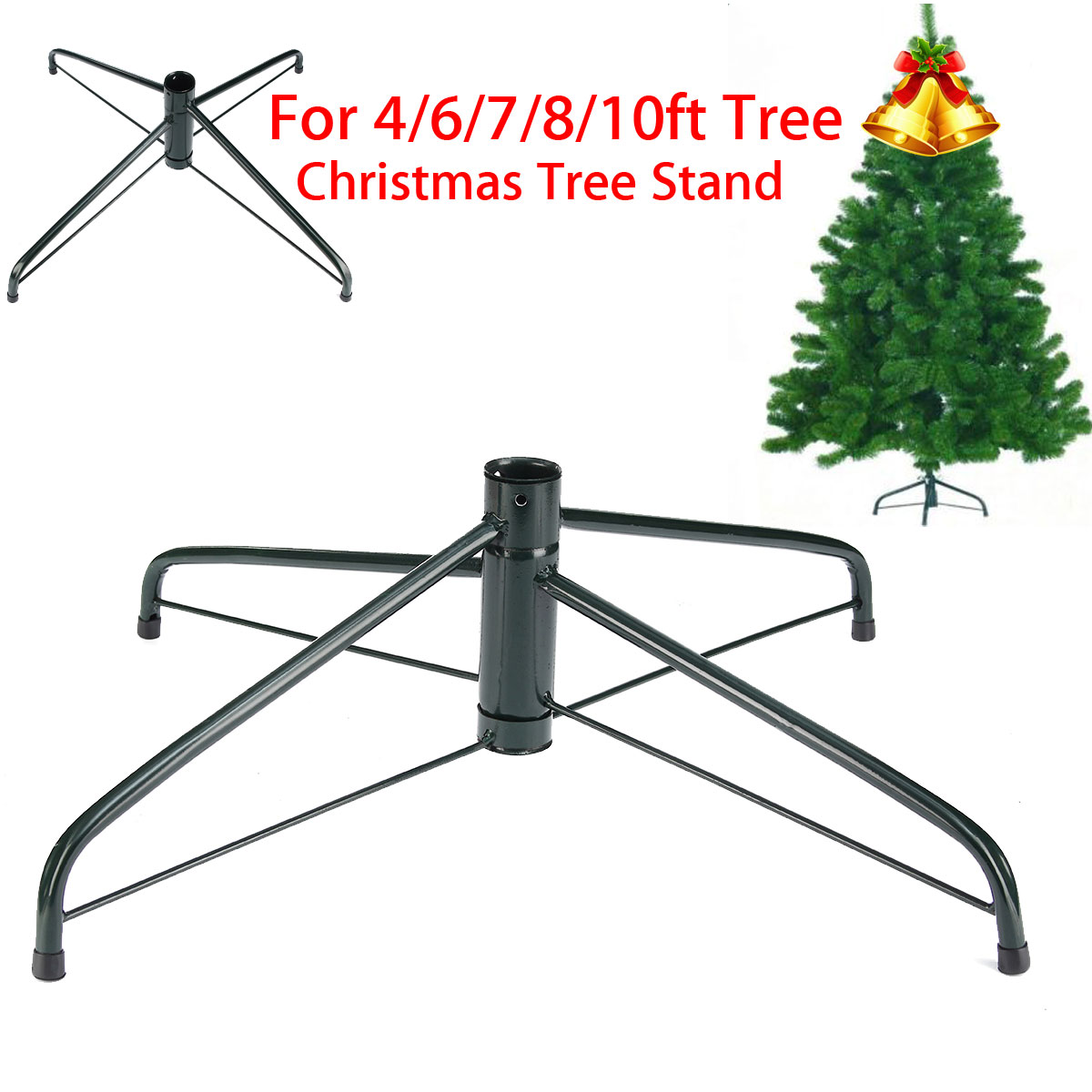 Artificial Christmas Tree Stand.Details About 4 6 7 8 10ft Christmas Tree Stand Green Metal Holder Base Cast Iron Decor Party