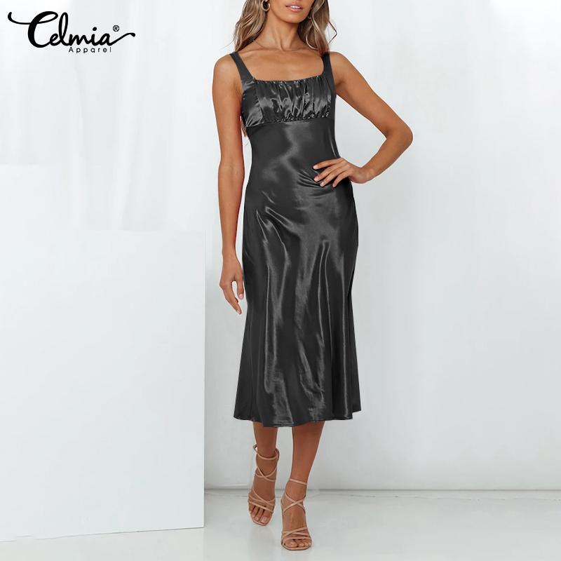 thumbnail 13 - Womens Summer Solid Strappy Midi Dress Ladies Silky Dresses Party Gown Sundress