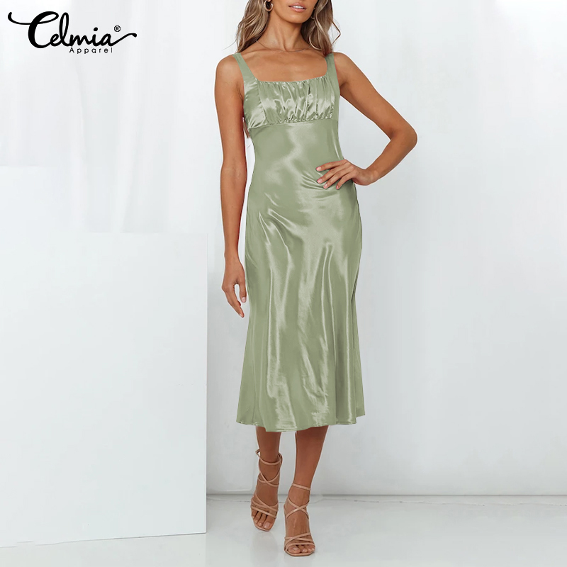 thumbnail 15 - Womens Summer Solid Strappy Midi Dress Ladies Silky Dresses Party Gown Sundress