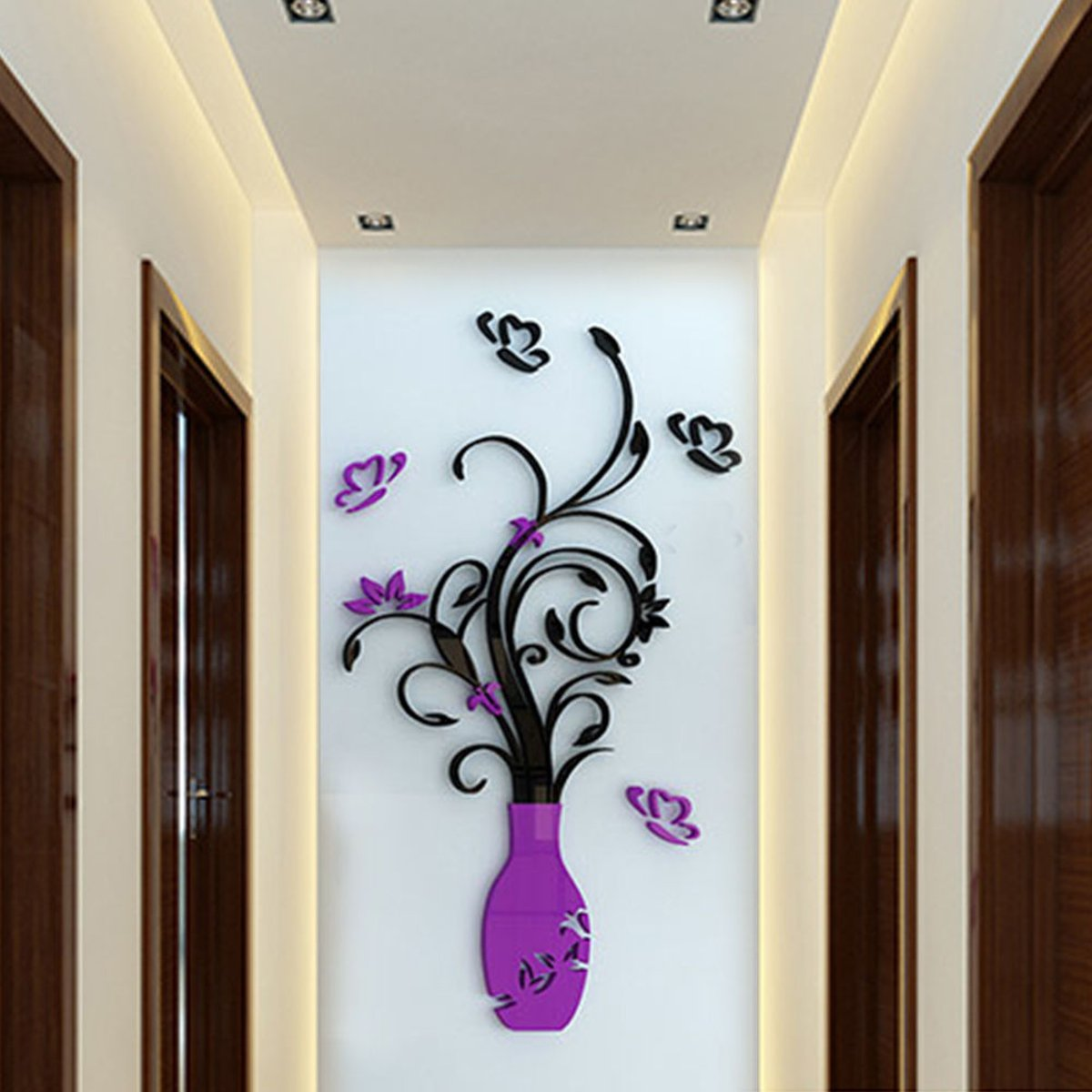 Acrylic 3D Flower Vase Wall Sticker Art Mural Decal Removable DIY ...