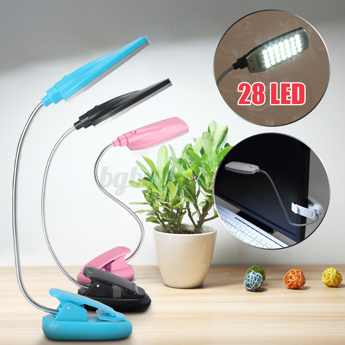 4 colores 28 led flexible l mpara lectura escritorio clip - Lampara lectura cama ...