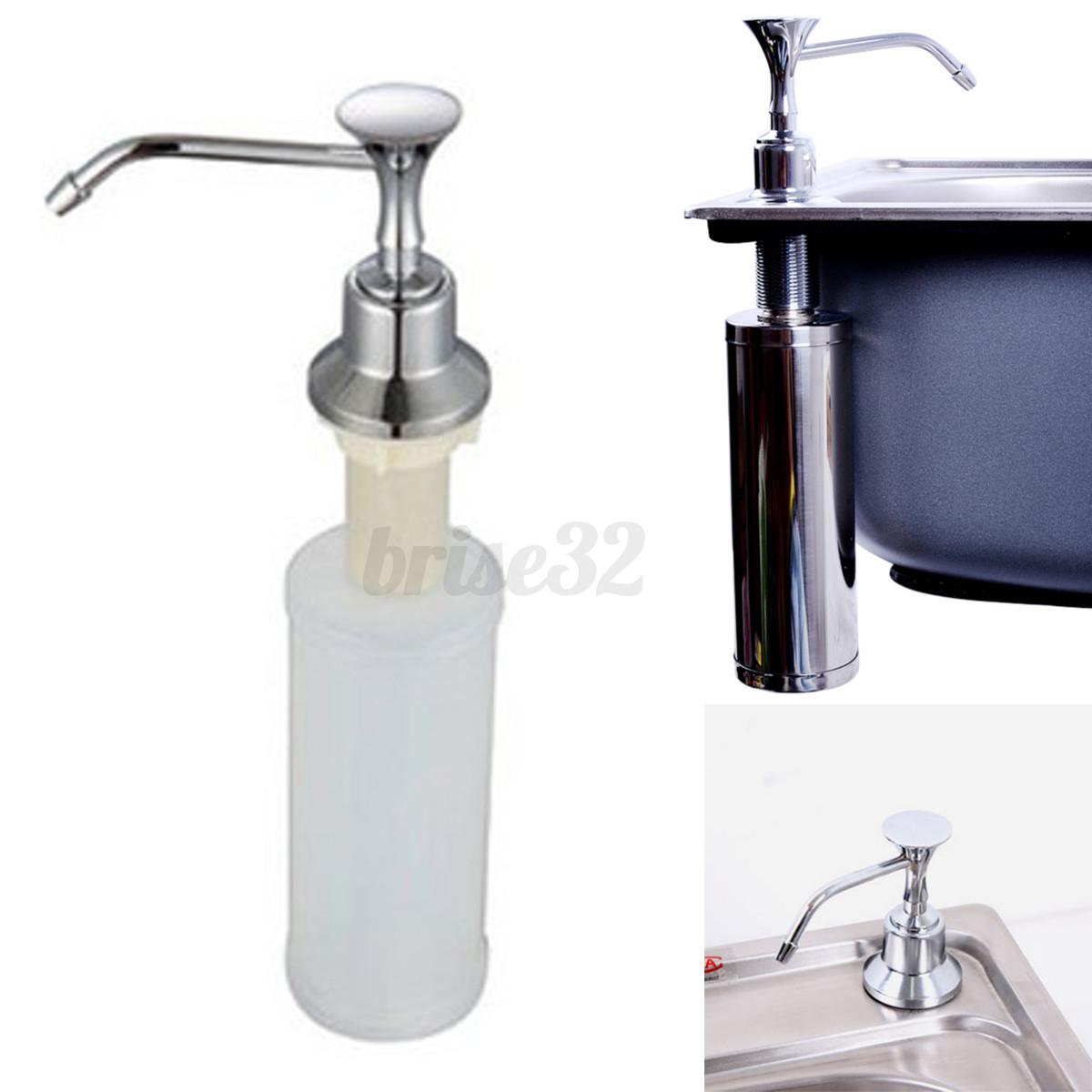 220ml White Kitchen Chrome Liquid Soap Dispenser Bathroom Sink Pump ...