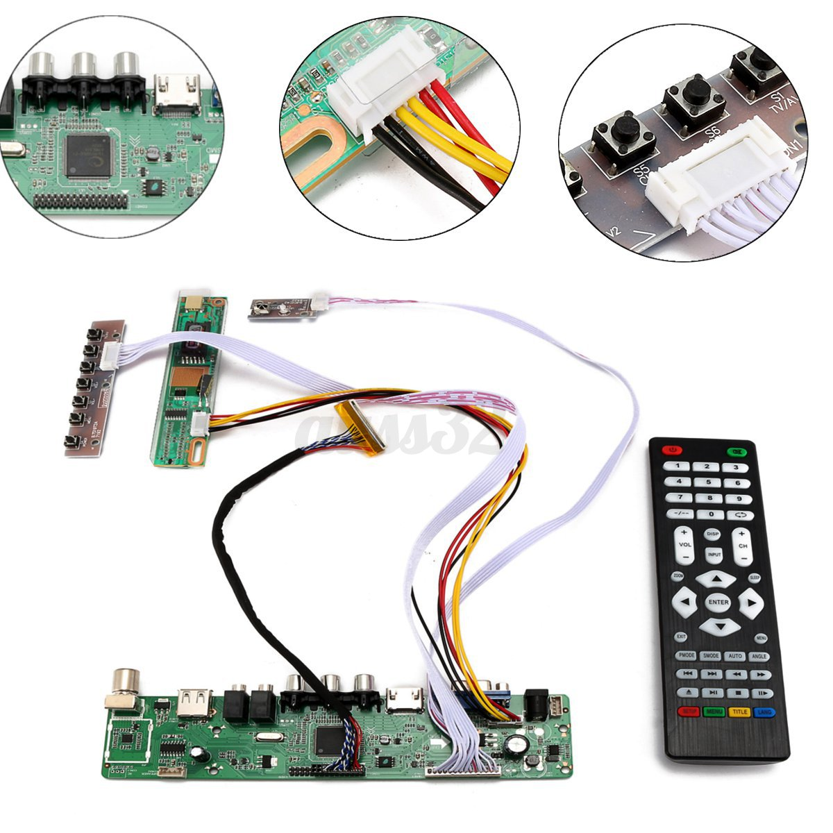 tv universal lcd led screen controller board diy monitor kit with remote control ebay. Black Bedroom Furniture Sets. Home Design Ideas