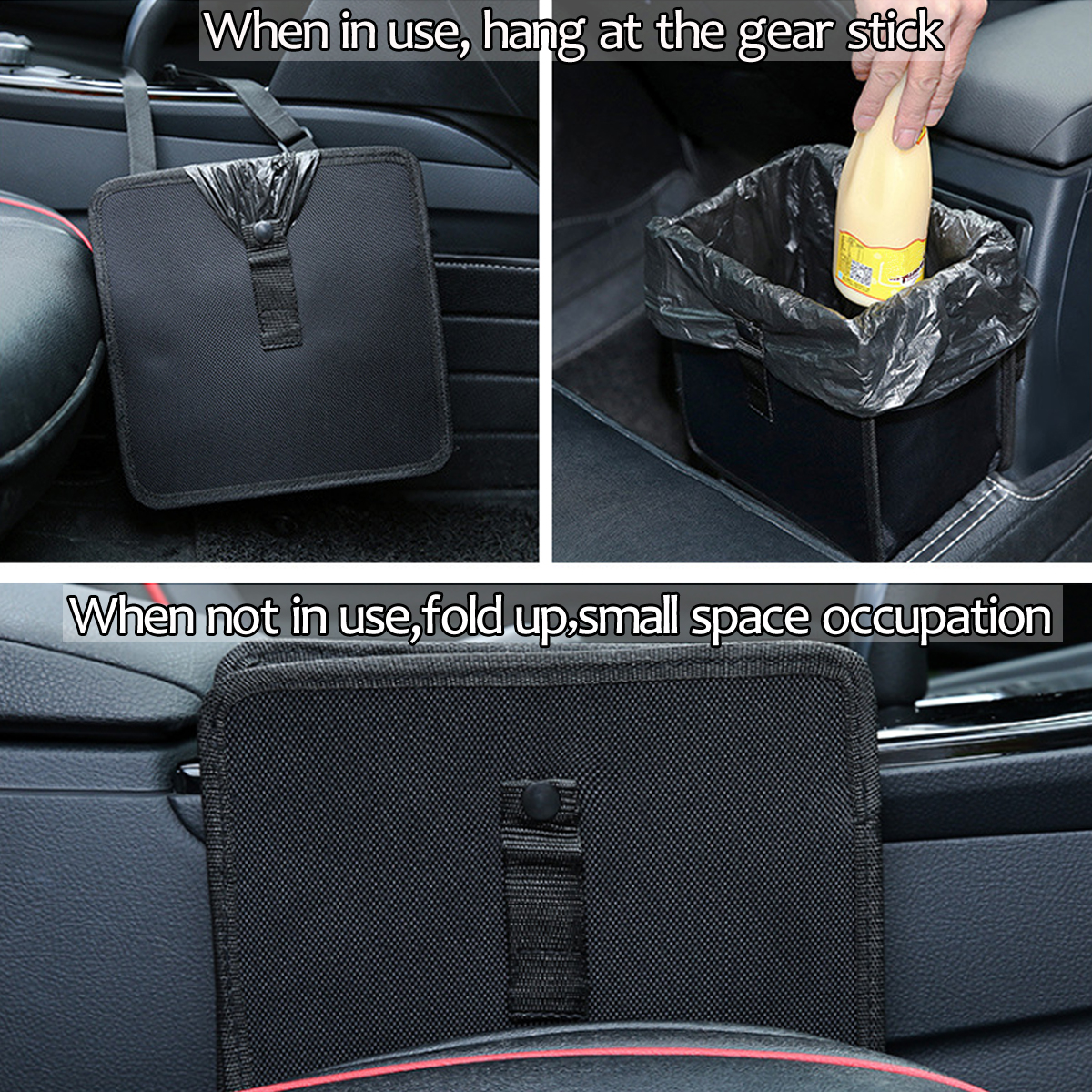 Car Trash Bin Waste Pack Storage Garbage Can Litter Leakproof Bag Organizer Box