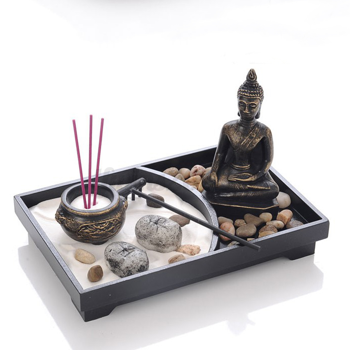 deko set zen garten buddha sand felsen r ucherst bchen. Black Bedroom Furniture Sets. Home Design Ideas