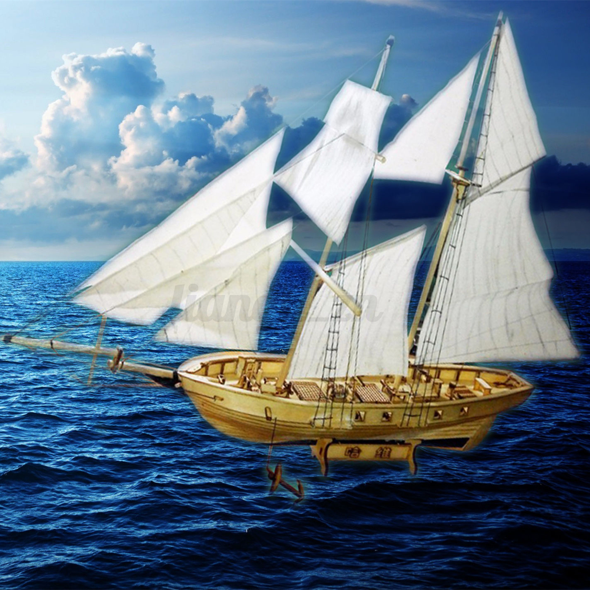 Diy scale wooden small sailboat ship kit home model