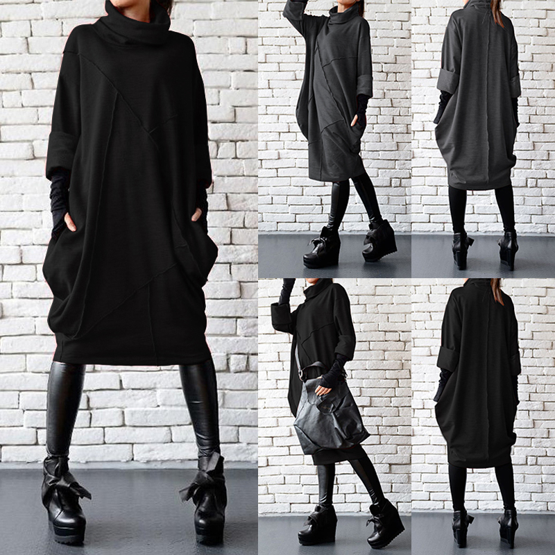UK Womens Long Sleeve High Neck Casual Jumper Dress Side Pockets Loose Mid Dress